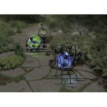 12 inch Solar Glass Wire Critter Butterfly with Blue Light
