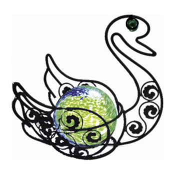 17 inch Solar Glass Wire Critter Swan with Green Light
