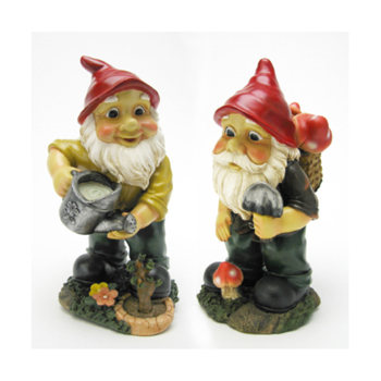 12 in. Gulliver and Mushroonie Garden Gnomes Statue