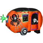 8 ft. w x 3.75 ft d x 5 ft h Animated Airblown Halloween Camper